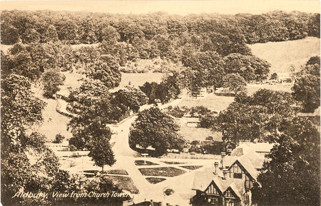 Aldbury Village from Chyrch Tower, Herts, Post Card by Dickens