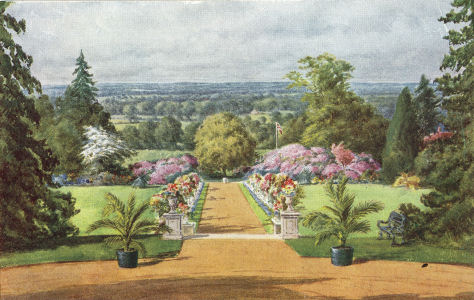 View from Caldecote Towers, Aldenham, Herts, from water colour by Charles Essenhigh Corke