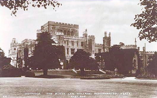"""Ashridge. The Bonar Law College, Berkhamsted, Herts. East End"", A Raphael Tuck & Sons ""Real Photograpg"" Postcard. unused."
