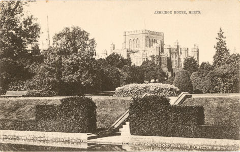 The Gardens, Ashridge House, near Berkhampsted, Hertfordshire, post card by Piggott