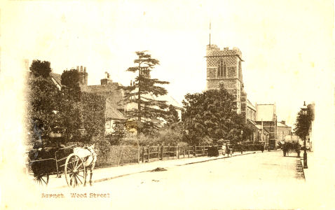 Post card of Wood Street, Barnet, circa 1905
