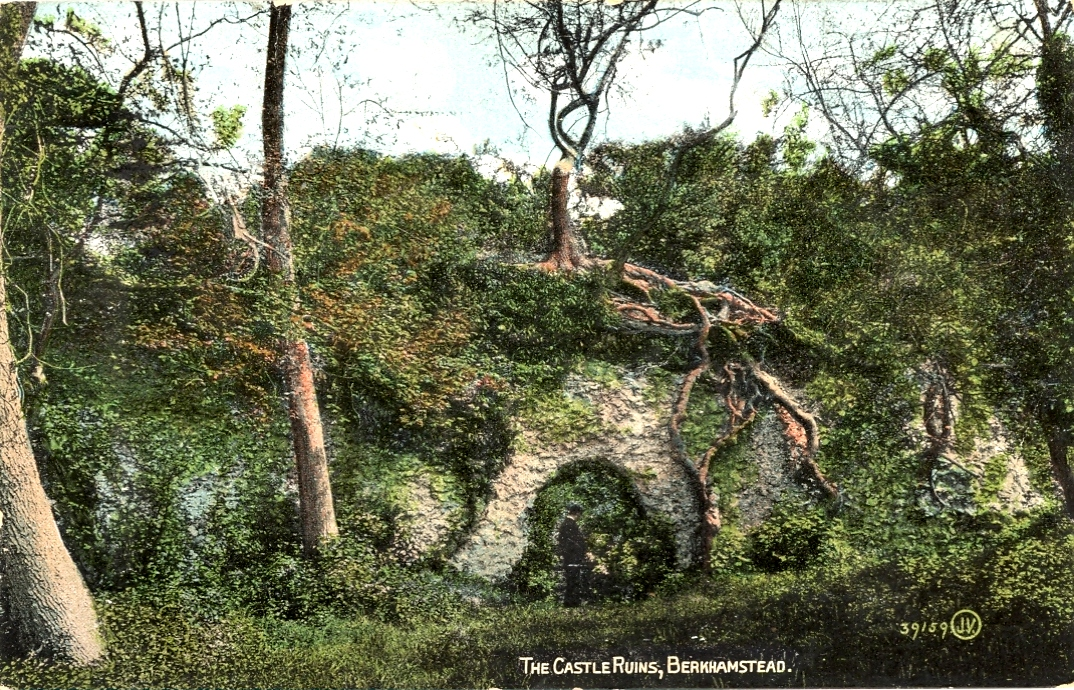 The ruined curtain wall of Berkhamsted Castle - post car by Valentine - photo taken 1903
