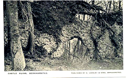 The Ruined Curtain Wall of Brekhamsted Castle, by local post card publisher, early 20th century