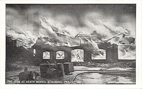 Fire at Wiles & Lewis' Tallow Works, Bernards Heath, St Albans, 1911