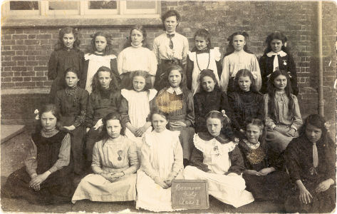 School Photograph of Boxmoor School, circa 1910, showing the girls in class one.