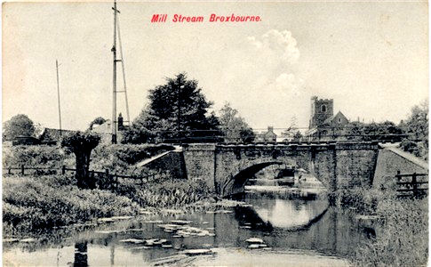 Title: Mill Stream, Broxbourne - Publisher: Charles Martin No 2598 - Date: circa 1903 - Inland message only