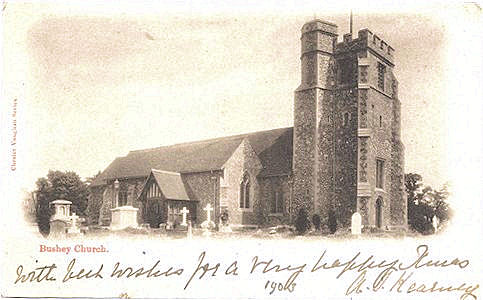Post card of St James Church, Bushey, Hertfordshire, used 1903, and published by Charles Vaughan