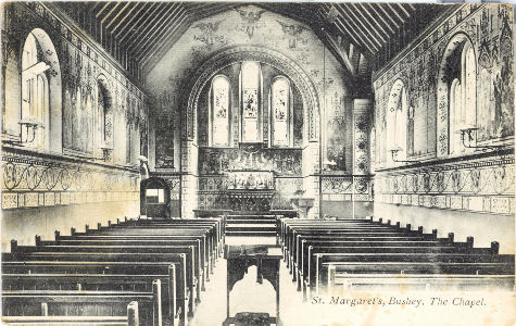 P A Buchanan post card of St Margaret's School, Bushey, Hertfordshire. The Chapel interior