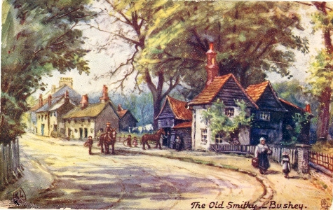 Post card of The Smithy, High Street, Bushey, painted by K Low in Raphael Tuck Aquarette Series