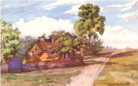 Title: Clements Farm, Chorleywood Common - Publisher: Printed by Suttley & Silverlock Ltd, London S.E.1. - Date: Probably painted before 1910. printed before 1933