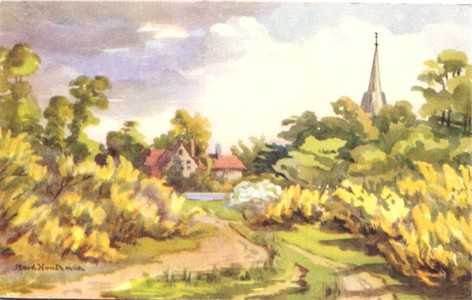 Titke: Chorleywood Common and Church - By Maud Huntsman - Publisher: Suttley & Silverlock - Date: probably painted before 1910