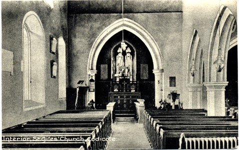 Title: Interior, St Giles' Church, Codicote - Publisher: ? - Date: Posted 1918