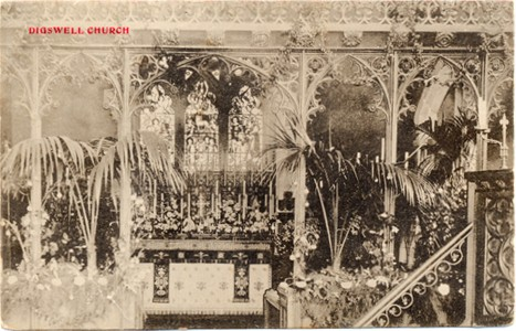 "Title: Digswell Church - Publisher E. As???, Welwyn - Date ""inland only"" posted 1907"