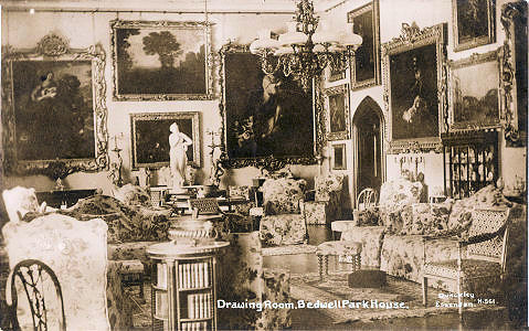 Drawing Room, Bedwell Park House, Essenden, post card by Dunkley