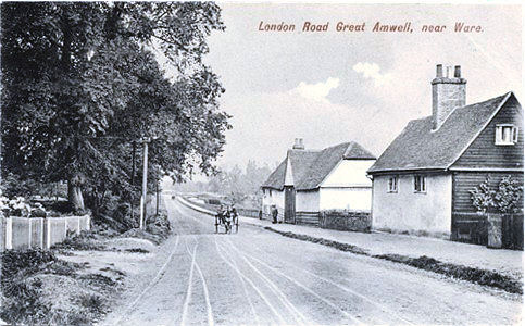 Title: London Road, Great Amwell, near Ware - Publisher: Charles Martin, 39 Aldermanbury, London E C No 1796 - Date: posted 1907 but back Inland message only