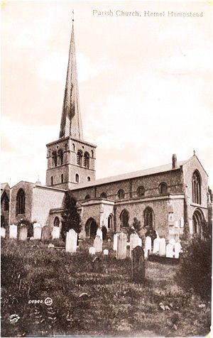 Title: Parish Church, Hemel Hempstead - Publisher: Valentines Series 54940 JV - Date: Posted 1915