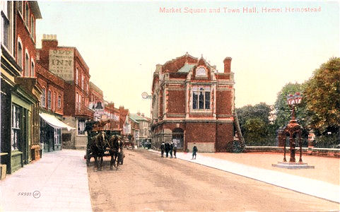 Title: Market Square and Town Hall, Hemel Hempstead - Publisher: Valentines Series 54935  - Date: posted 1916JV