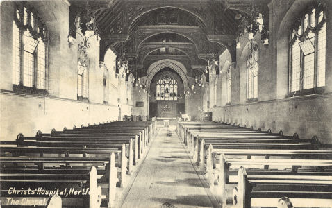 The Chapel, Christ's Hospital, Hertford: post card by P A Buchanan