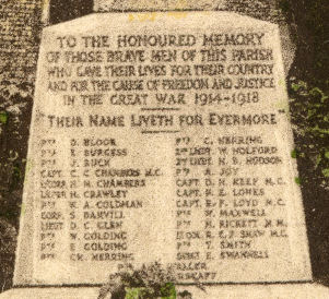 Abbots Langley War Memorial - Names: Bloor, Burgess, Buck, Chambers, Crawley, Coldman, Damvill, Glen, Golding, Herring, Hoford, Hudson, Joy, Keep, Lomes, Loyd, Maxwell, Rickett, Shaw, Smith, Swannell, Walker, ??