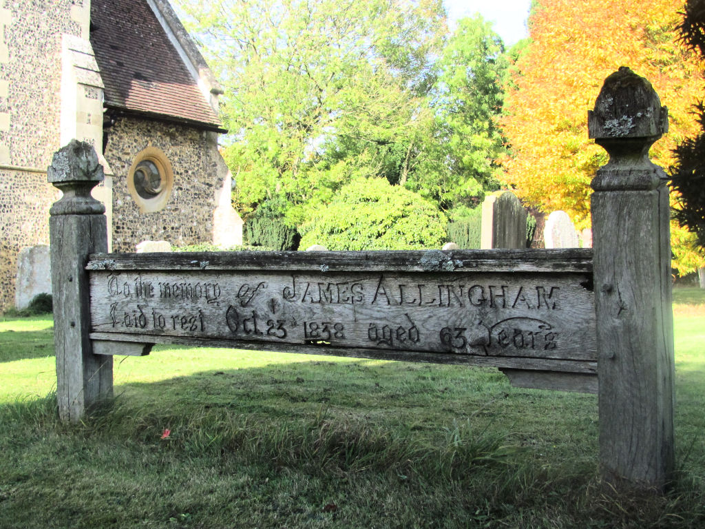 James Allingham, grave board, St Peter's Church, Lilley, Herts