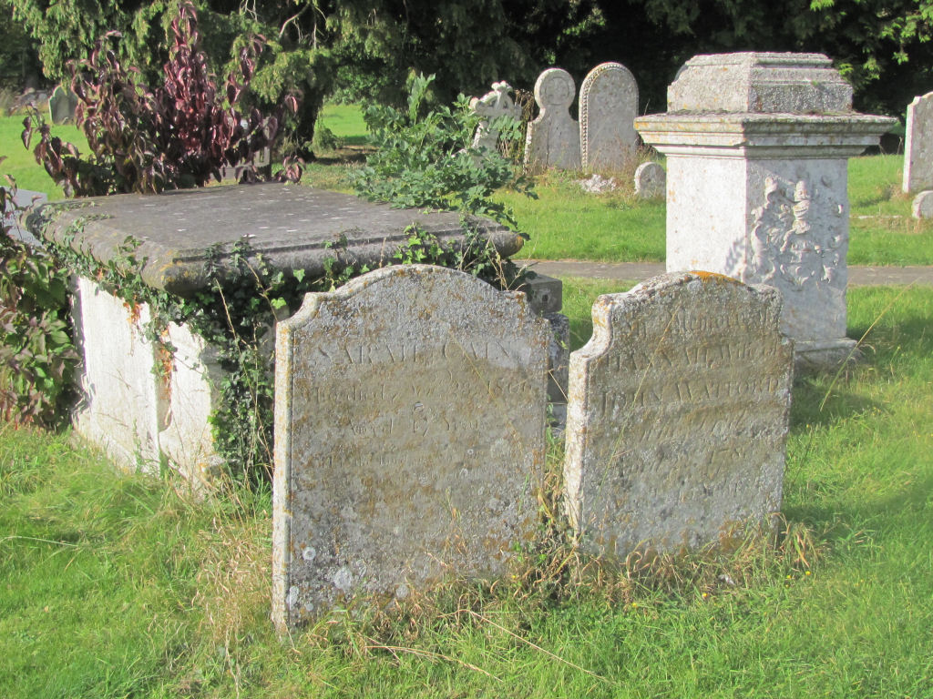 18th century grave stones, St Peter's Church, Lilley, Herts