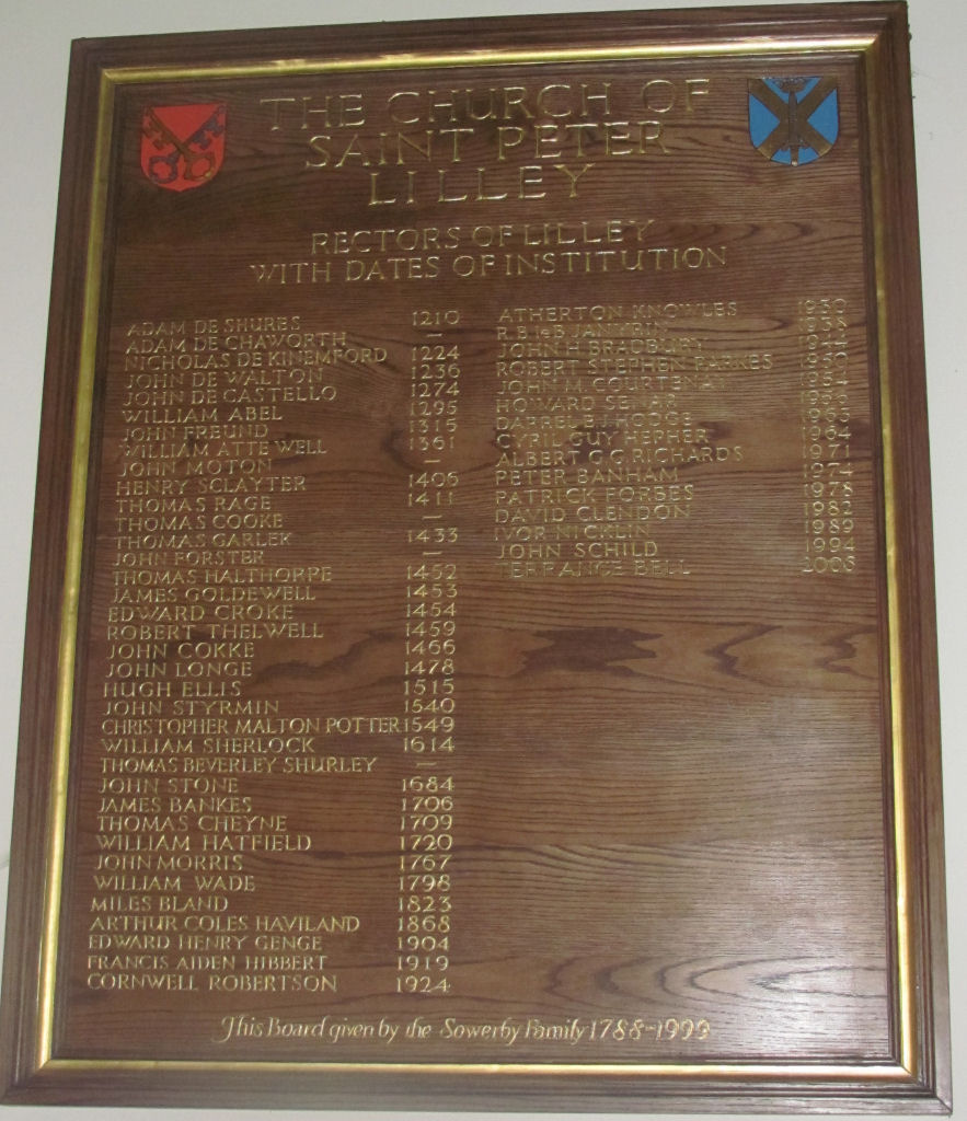List of Rectors, St Peter's Church, Lilley, Herts