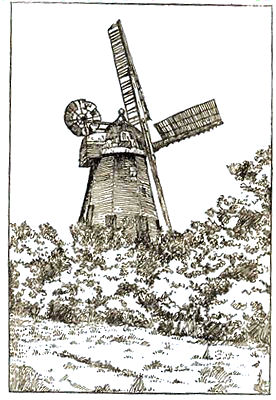 Drawing of Little Hadham windmill, by Alderman