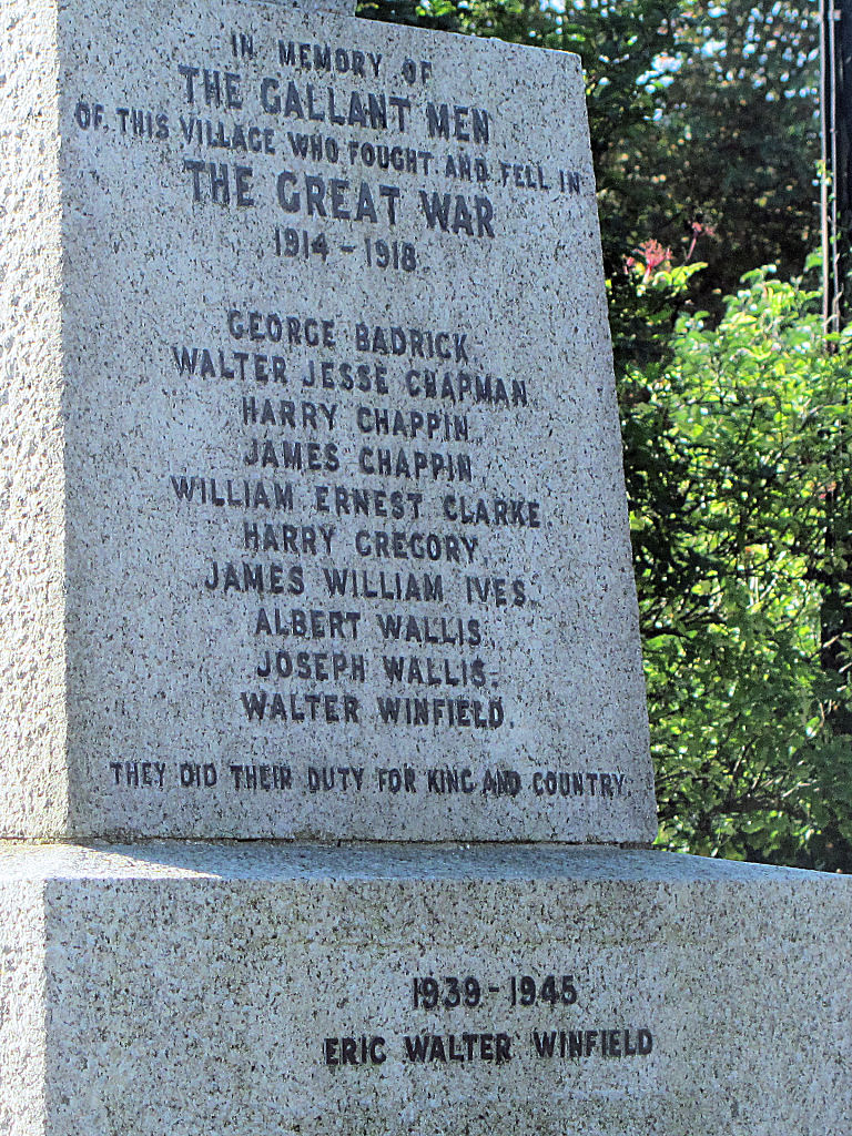 Long Marston War Memorial, Hertfordshire, with names