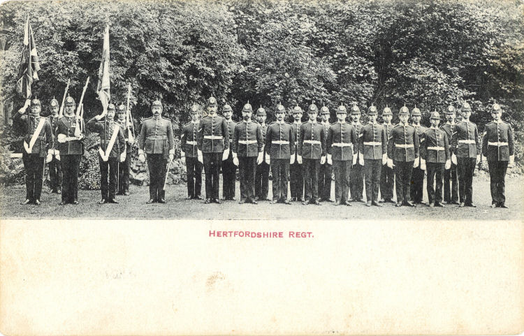 Hertfordshire Regiment with Colours, 1909