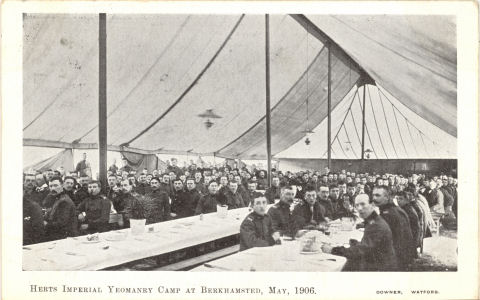 Herts Imperial Yeomanry, Berkhamsted, 1906 - Canteen Tent - by Downer, Watford