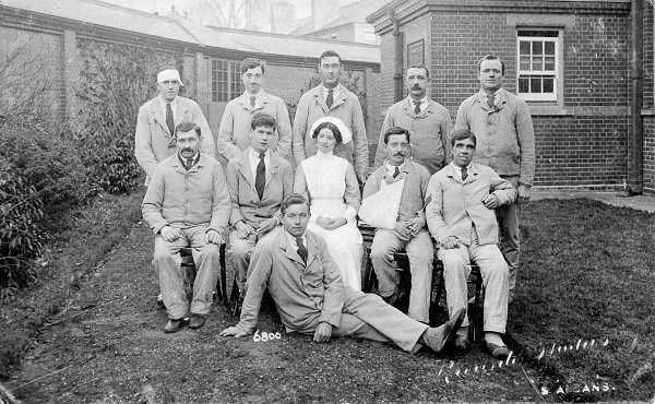 Wounded Soldiers at Napsbury Hospital, near St Albans, Hertfordshire, during the First World War (1916) by Ricado Studions, St ALbans.