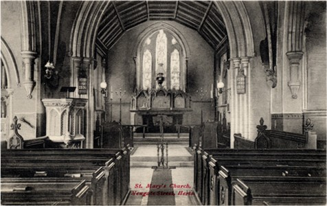 Title: St Mary's Church, Newgate Street, Herts - Publisher: The Charles Martin Publishing Co., Ponders End, London, No 3012 - Date: circa 1910