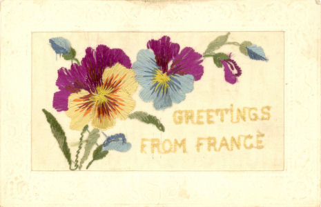 WW1 silk post card with panseys