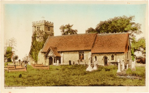Title: Ridge Church - Publisher: L. E. Hollis, Post Office, North Mimms  but printed by Radermacjer Aldous - unused