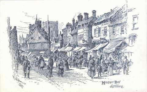 Market Day, St Albans, by F G Kitton, circa 1900