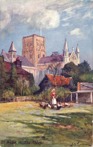 St Albans Abbey - oil painting of post card by Tuck