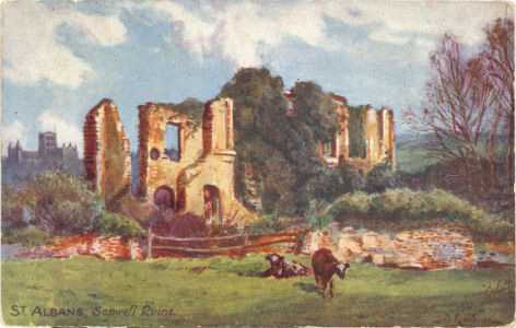 Sopwell Nunnery Ruins - oil painting on a post card by Tuck