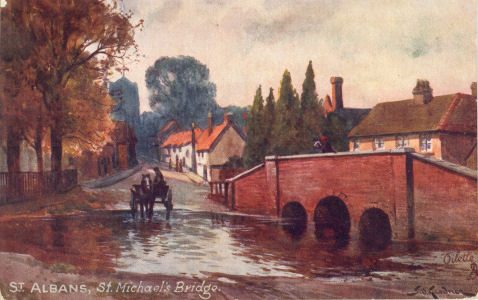 St Michael's Bridge, St Albans, Oil painting by SId Gardner on post card by Tuck