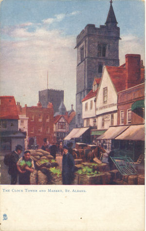 Market & Clock Tower, St ALbans, Herts, - PC Tuck's Oilette