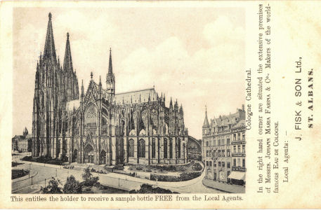 Cologne Cathedral, Eau de Cologne advert. Fisk, St Albans