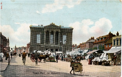 Title: Town Hall, St Albans - Publisher: Hartmann No 2545 23 - posted 1907 (Other cards in 2545 set posted 1904)