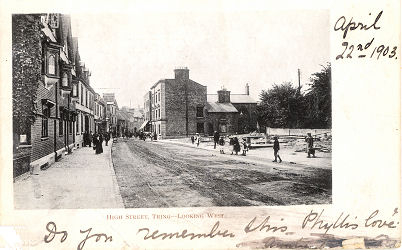 Post Card of Tring, Herts, High Street after Market House demolished, c1900