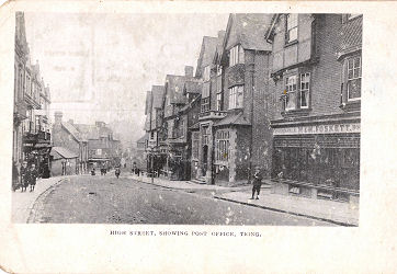 Post Card of High Street, Tring, Herts, with Post Office, c 1900