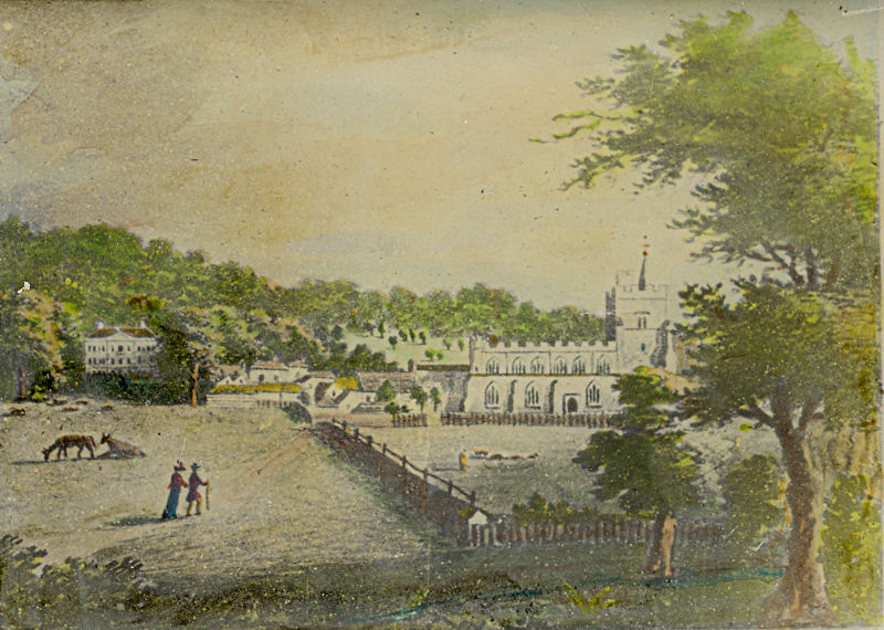 Painting of Tring showing church and Tring Mansion