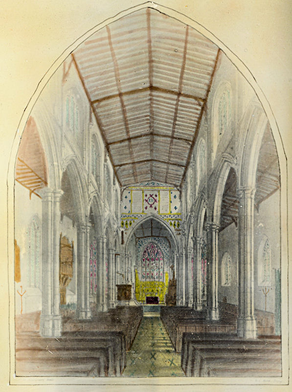 Print of Tring Church before Victorian restoration