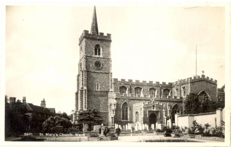 Parish Church, Ware, Herts, Post Card by Coates, Wisbech