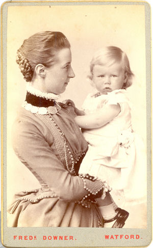 Mother & Daughter, CDV by Downer, Watford, dated 1886