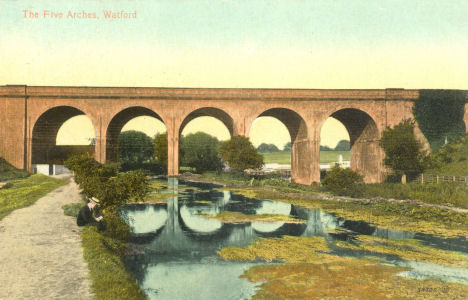 Five Arch Railway Bridge over the River Colne, Watford, Herts