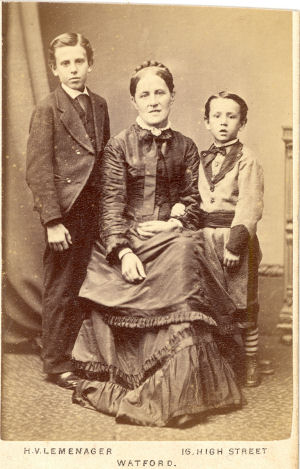 Mother and two sons - cdv portrait by Lemenager of Watford