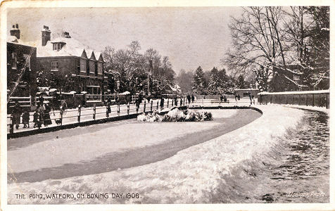 The Pond, Watford High Street, Sbow, Boxing Day 1906 - by Downer